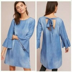 Anthro Cloth & Stone Chambray Bell Sleeve Dress